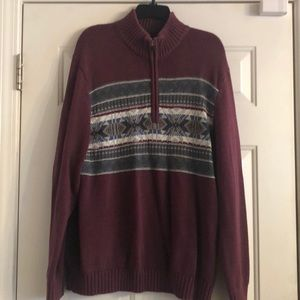 Izod Burgundy and Green Sweater